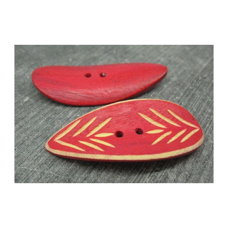 Bouton bambou gravé feuille rouge 50mm
