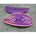 Bouton bambou gravé feuille violet 50mm