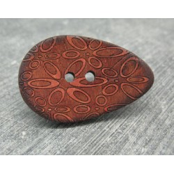 Bouton coco oval laser orange 40mm