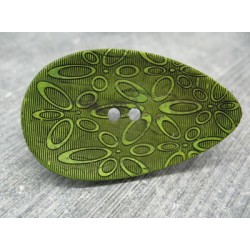 Bouton coco oval laser vert 50mm