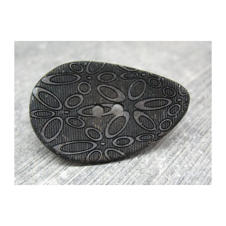Bouton coco oval laser noir 40mm