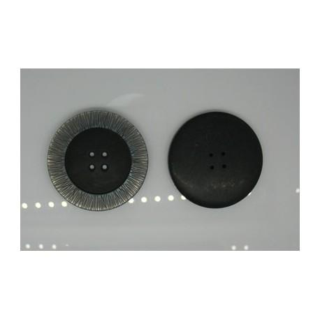 Bouton noir cercle strié nacre 51mm