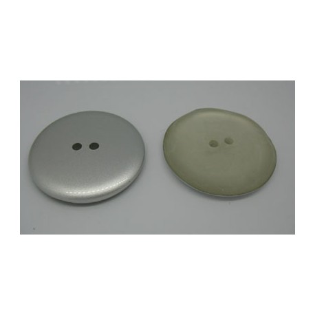 Bouton biface gris-opaque strié 44mm