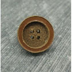 Bouton cuir pastille cognac 14mm