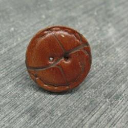 Bouton cuir craquelé cognac 18mm