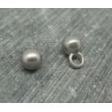 Bouton boule métal argent satiné 6mm