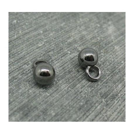 Bouton boule métal noir brillant 6mm