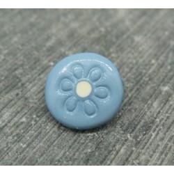 Bouton bleu fleur gravé blanc 12mm