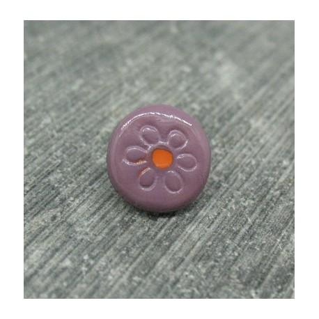 Bouton prune fleur gravé orange 10mm