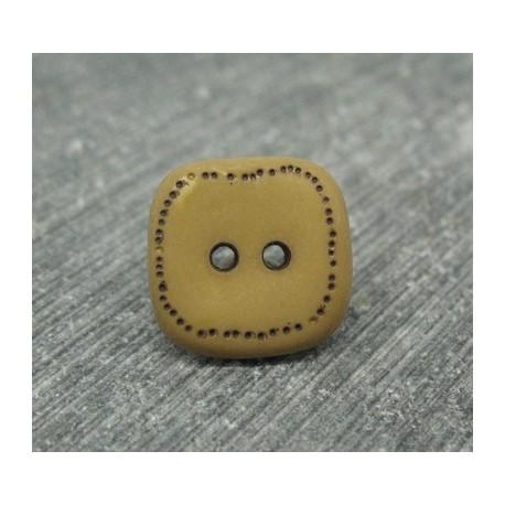 Bouton carré pointillé marron 15mm