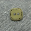Bouton carré pointillé olive 13mm