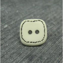 Bouton carré pointillé écru 15mm