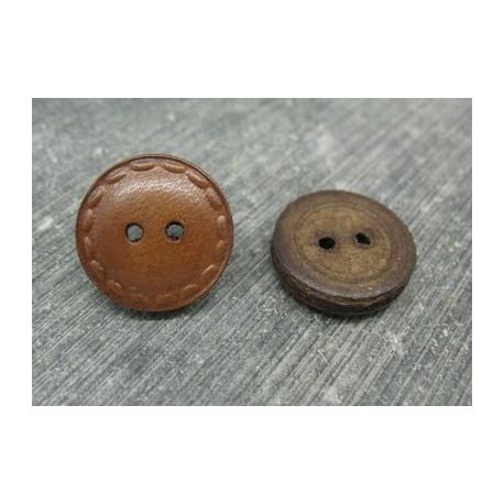 """Bouton cuir """"surpiqure"""" marron clair 18mm"""