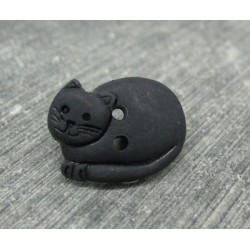 Bouton chat couché noir 20mm