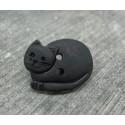 Bouton chat couché noir 20mm