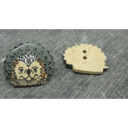 Bouton coco hérisson gris 21mm