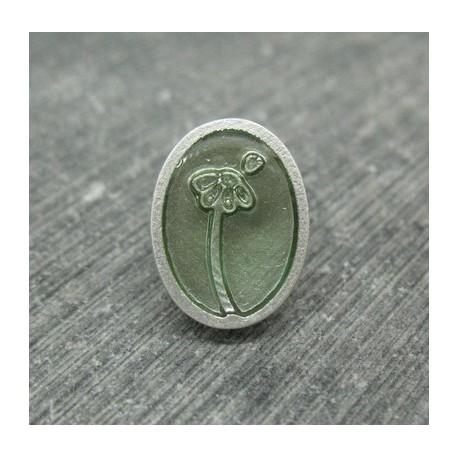Bouton fleur oval effet loupe vert d'eau 22mm