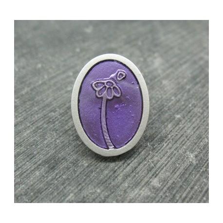 Bouton fleur oval effet loupe violet 22mm