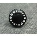 Bouton roue effet strass noir 15mm