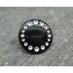 Bouton roue effet strass noir 18mm