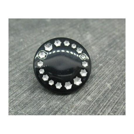 Bouton roue effet strass noir 23mm