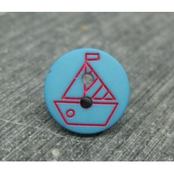 Bouton voilier turquoise blanc 13mm