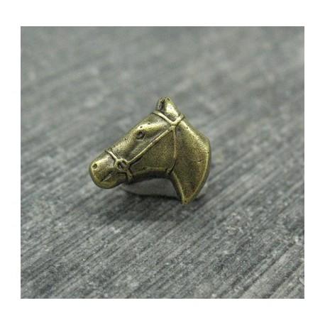 Bouton tête de cheval vieil or 10mm