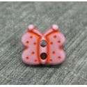 Bouton papillon rose-rouge 12mm