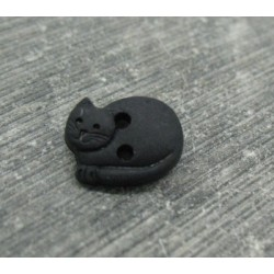 Bouton chat couché noir 12mm