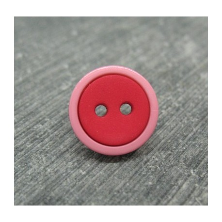 Bouton bicolore rose rouge 13mm