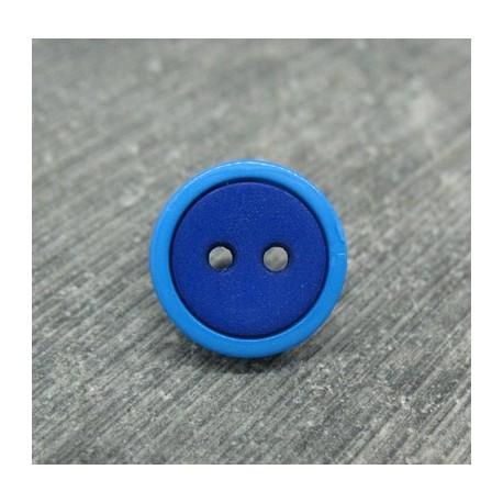 Bouton bicolore bleu roy 13mm