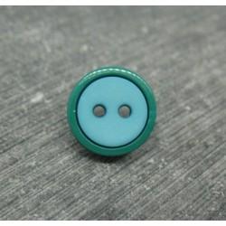 Bouton bicolore sapin vert d'eau 13mm