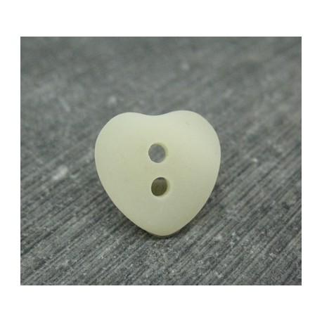 Bouton coeur écru nacré 15mm