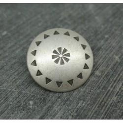 Bouton roue métal pointillé argent 23mm