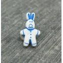 Bouton lapin blanc bleu 15mm