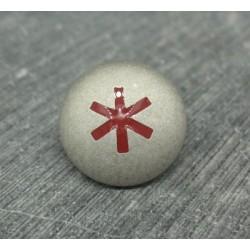 Bouton astérisque argent rouge 18mm