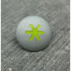 Bouton astérisque gris vert anis 15mm