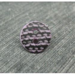 Bouton dentelé noir base lavande 12mm