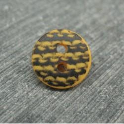 Bouton dentelé noir base jaune 12mm