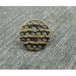 Bouton dentelé noir base beige 12mm