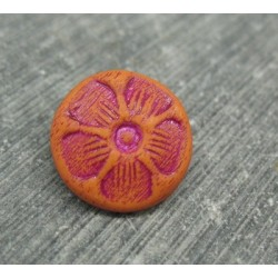 Bouton 5 pétales orange fuschia 15mm