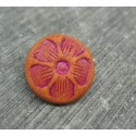 Bouton 5 pétales orange fuschia 15mm