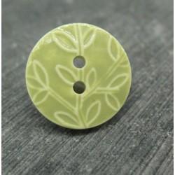 Bouton feuille olivier amande 18mm