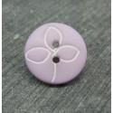 Bouton fleur trilobe violine blanc 18mm