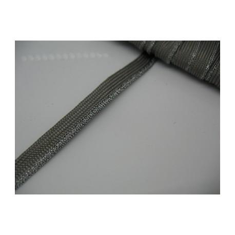 Passepoil gris bourrelet métal argent 8mm