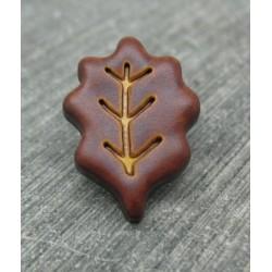 Bouton feuille de chêne marron 22mm