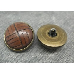 Bouton cuir marron base laiton 23mm