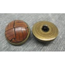 Bouton cuir marron clair base laiton 23mm