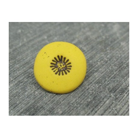 Bouton pistil jaune noir 15mm