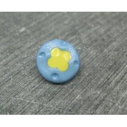 Bouton fleur 4 points ciel jaune 12mm